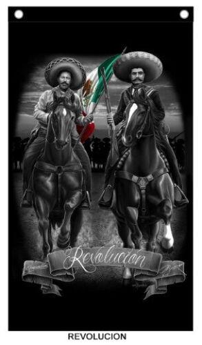 David Gonzales Art Chicano Mexican Emilio Zapata Pancho Villa Revolucion  Banner