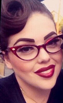 Vintage PinUp Cat Eye Slim Fashion Women Clear Lens Demi Eyeglasses Frames (Vintage Cat Eyeglass Frames)