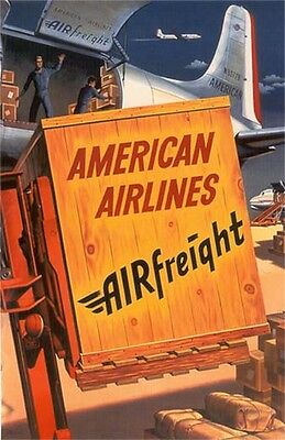 """Vintage American Airlines """"Airfreight"""" Poster 1950's"""