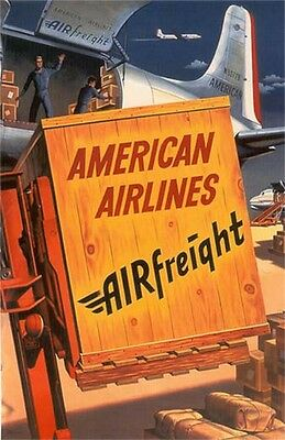 "Vintage American Airlines ""Airfreight"" Poster 1950's"