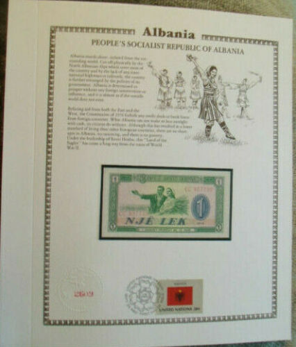 Albania Banknote 1 Lek 1976 P-40 UNC with UN FDI FLAG STAMP Prefix CC