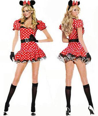 Sexy Halloween Damen Mädchen Minnie Maus Kostüm S M L