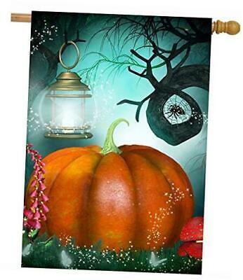 Halloween Autumn Fairy Forest Pumpkin Trees Mushroom Lantern Butterfly Spider H