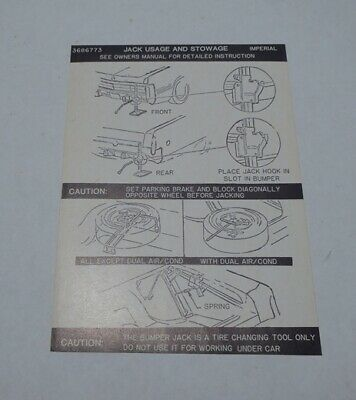Mopar 73 Chrysler Imperial Instructions Decal NEW 3595702 DD0236