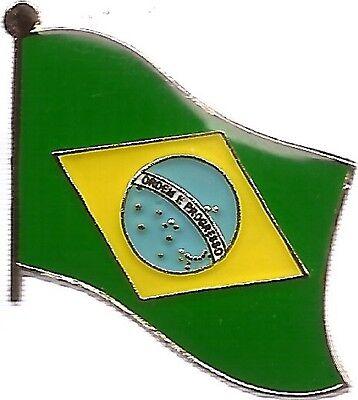 LOT OF 12 Brazilian Flag Lapel Pins - Brazil Flag Pin