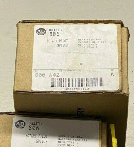 Allen Bradley Rotary Pilot Switch 806-A42, 4-Pole (double throw), 3-Position, N1