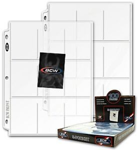 Box-100-BCW-9-Pocket-Trading-Baseball-Card-Album-Pages-Coupon-Binder-Sheets