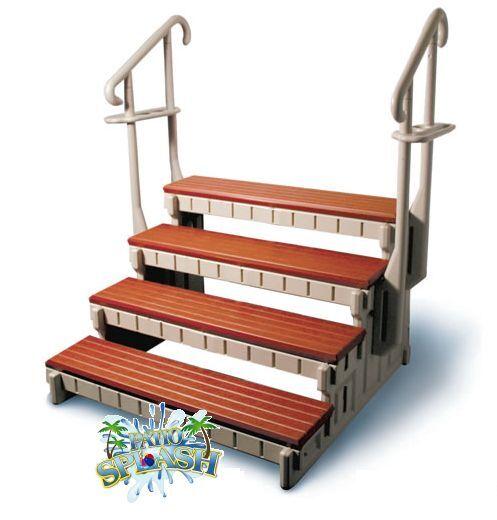 4 Step Spa Step Hot Tub Step Swim Spa Steps W/handrails Towel Rails Easy Entry