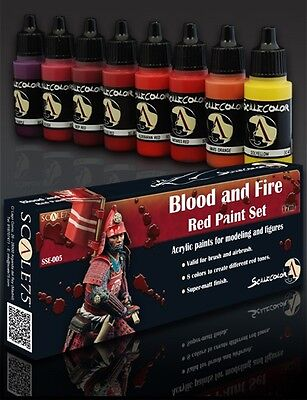 PAINT SET BLOOD and FIRE SSE-005 Acrylic paint Scale75 Airbrush Brush red (Fire Paint Set)