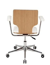 Bamboo office chair white