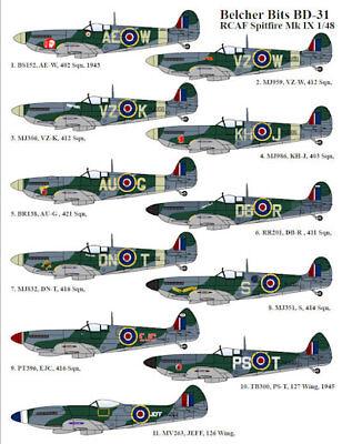 Canadian Spitfires Mk IX, Belcher Bits BD31, 1/48 scale decal