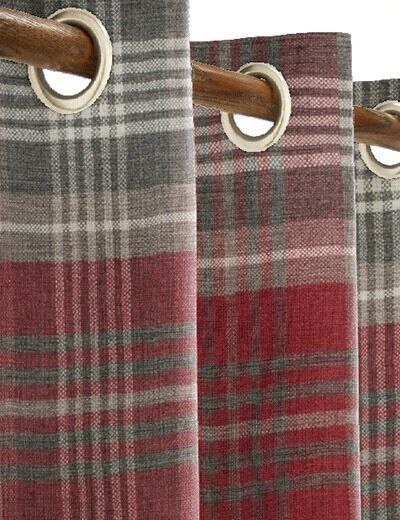 Next Red Grey Check Eyelet Curtains Worth GBP140