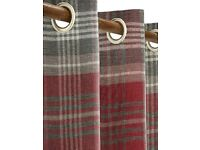 Next Red/Grey check eyelet curtains (worth £140)