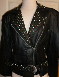 BIKERS JACKET WOMEN LEATHER STONE STUDDED COLLAR & BELT - NEW