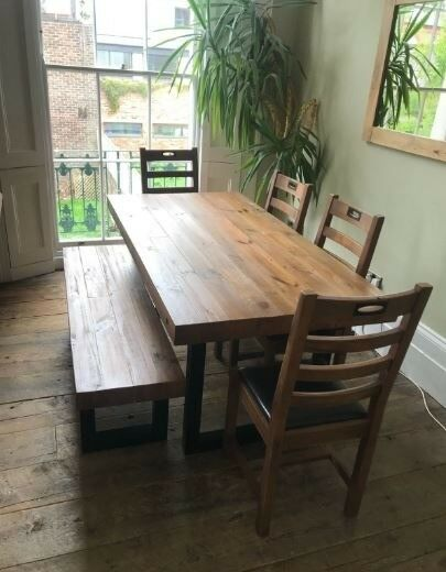 Rustic Dining Table Bench 4 Chairs