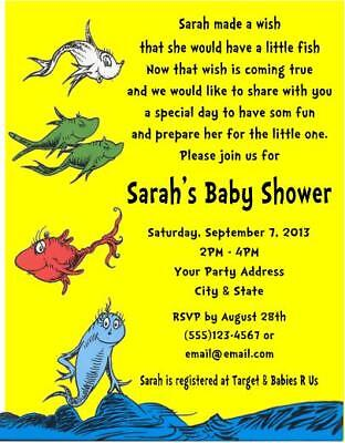 Fishing Baby Shower Invitations (One Fish Two Fish Dr Seuss Baby Shower Party Invitations)