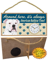AMERICAN BULLDOG time CLOCK wood SIGN wall Desk Easel battery PLAQUE dog USA