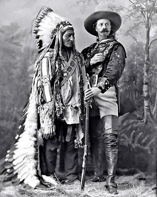 Bill Cody Sitting Bull Photo 8X10 - 1885 Buffalo Lakota Indian Chief