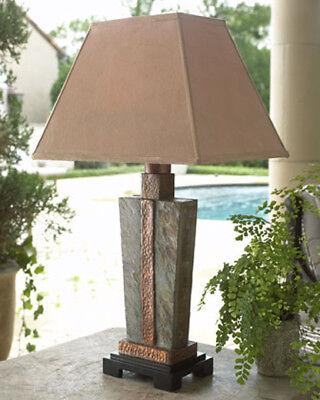Slate & Hammered Copper Rectangular Indoor Outdoor Table - Hammered Slate