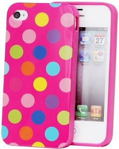 Colorful Polka Dots Gel Silicone Rubber Soft Case Cover Skin for Iphone 4 4G 4S