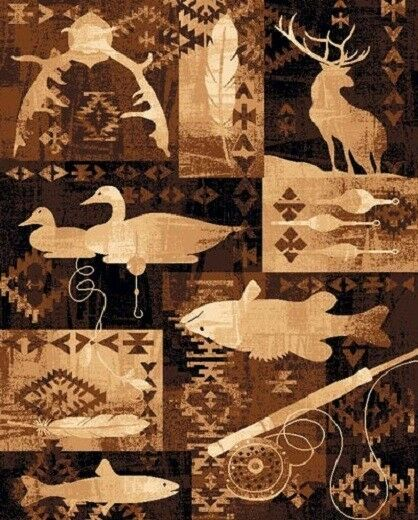 4' X 6'' COUNTRY THEME LODGE AREA RUG SOUTHWESTERN DUCK DEER FISH FISHING CABIN