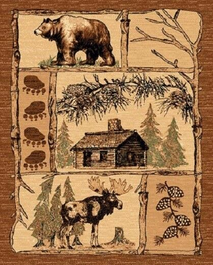 "3'9"" X 5'3"" COUNTRY THEME LOG lodge CABIN BEAR & MOOSE BROWN AREA RUG WITH PINES"
