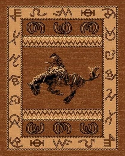 2 X 3  COUNTRY THEME WESTERN COWBOY on bucking horse rodeo TAN BROWN MAT RUG