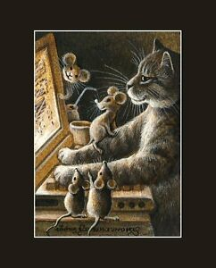 Sepia Cat ACEO Print When Everyone Is Asleep by I Garmashova
