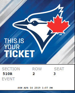 Toronto Blue Jays vs TampaBay Rays Apr 14 sec510R row 2 seat 3-4
