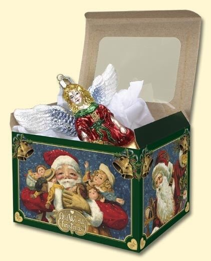 """5 EXTRA LARGE 7"""" x  5.5"""" x 5.5""""  OLD WORLD CHRISTMAS CARDBOARD GIFT BOXES 14038"""