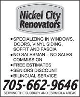 NICKEL CITY RENOVATORS LTD.- SUDBURY'S BEST CHOICE FOR SIDING.