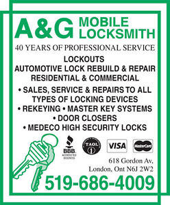 Lockouts, Re-key, Res/Comm & Automotive: A&G Mobile Locksmith -