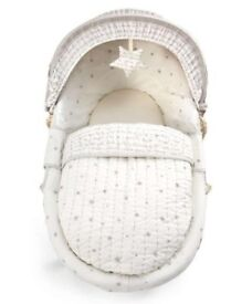 Moses basket, stand, mattress, blanket and sheets