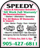 HEAVY EQUIPMENT STARTERS & ALTERNATORS -- NEW & REBUILT
