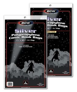 200-BCW-RESEALABLE-Silver-Age-Comic-Book-Poly-Bags-Acid-Free-Backer-Boards