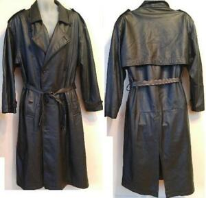 VIAGGIO Mens Large Black Trench Coat L 42 44 Leather Retro Goth Long Loose Military Goth Jacket Thick Raincoat Ontario