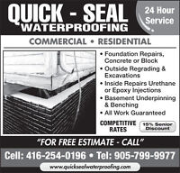 Wet and leaky basement? Call Quick-Seal Waterproofing now