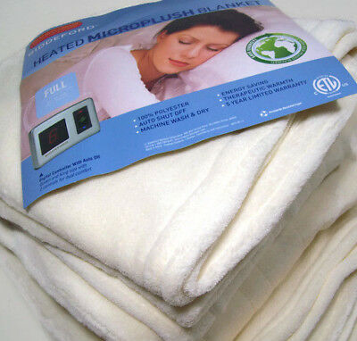 Biddeford Electric Heated Warming Micro Plush Ivory Full Blanket Digital Control