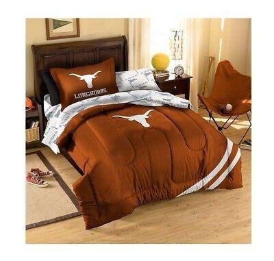 NCAA Texas Longhorns 5 pcs Twin Size sheets comforter Sham Bedding Set Satin New