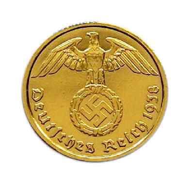 - 10 Reichspfennig 1937 mit HK - 24 Karat vergoldet -