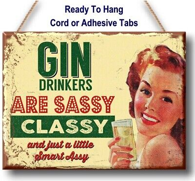 Funny Gin Drinker Plaque sassy classy plaque sign vintage retro gift kitchen bar