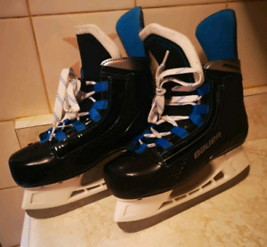 BAUER Boys Size 1 and 2 (two sizes one pair) of Hockey Skates