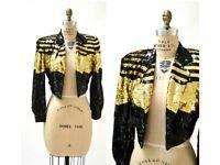 Vintage Sequin Jacket Black Gold Metallic Stripes by Lillie Rubin