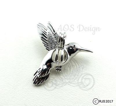 Pick A Pearl Cage Silver Plated Hummingbird Bird Flying Locket Beads CHARM ONLY
