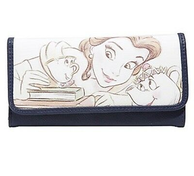 Disney Beauty & The Beast Belle Potts & Chip Sketch Trifold Flap Wallet Gift NWT
