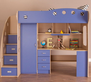 JYSK NIKA LOFT BED (maple +blue)