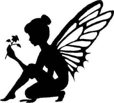 Fairy silhouette with Flower vinyl decal/sticker car truck window fantasy magic - Fairy Stickers
