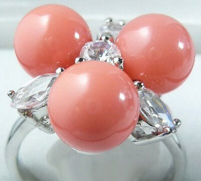 Pink Coral Color Shell Pearl 3 Beads 18KWGP Crystal Flower Ring Size: 7.8.9 Pink Pearl Flower Ring