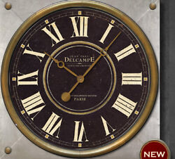 Sale! Vintage style 23 in. French Delcampe Designer Clock w/ Domed Glass
