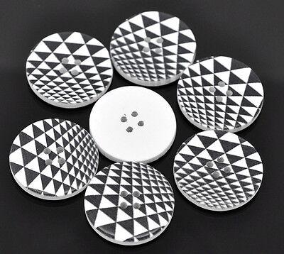 5 Stück  Knöpfe Holz schwarz, weiß 30mm K509.3